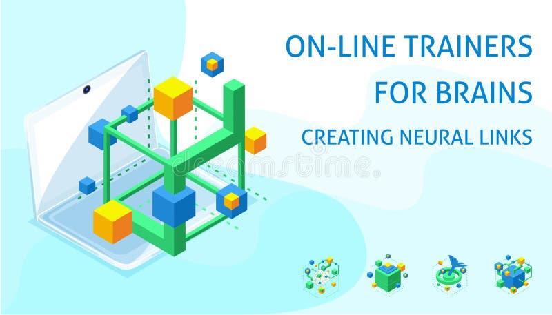 Isometric pojęcie budować neural związki w trakcie ludzkiego mózg rozwoju ilustracji