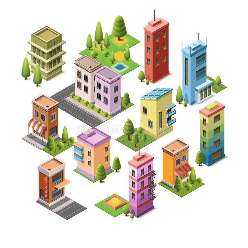 Isometric pojęcie budynki royalty ilustracja