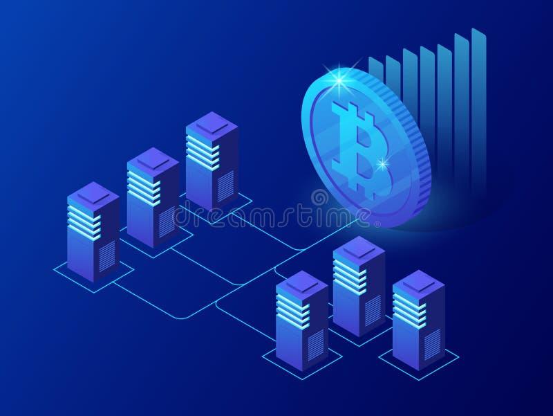 Isometric pojęcie Cryptocurrency i Blockchain pojęcie Gospodarstwo rolne dla górniczych bitcoins ilustracja wektor