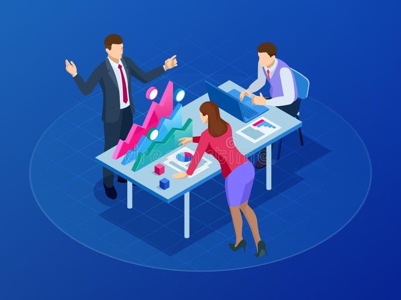 Isometric pojęcie dla biznesowej pracy zespołowej i cyfrowego marketingu, kreatywnie innowacja Sieć sztandaru płaski projekt prom royalty ilustracja