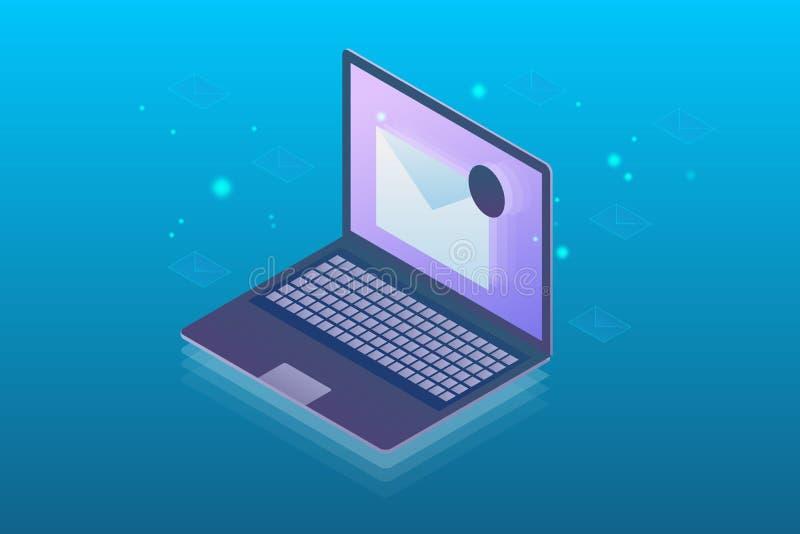 Isometric pojęcie emaila marketing, gazetka na laptopu ekranie, wektorowa ilustracja royalty ilustracja