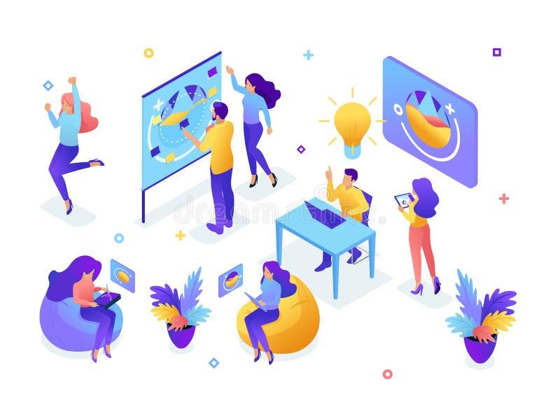 Isometric pojęcie młoda drużyna, praca zespołowa, tworzy pomysły, pracownicy rozwija projekt, brainstorming, rozpoczęcie Poj?cie ilustracja wektor
