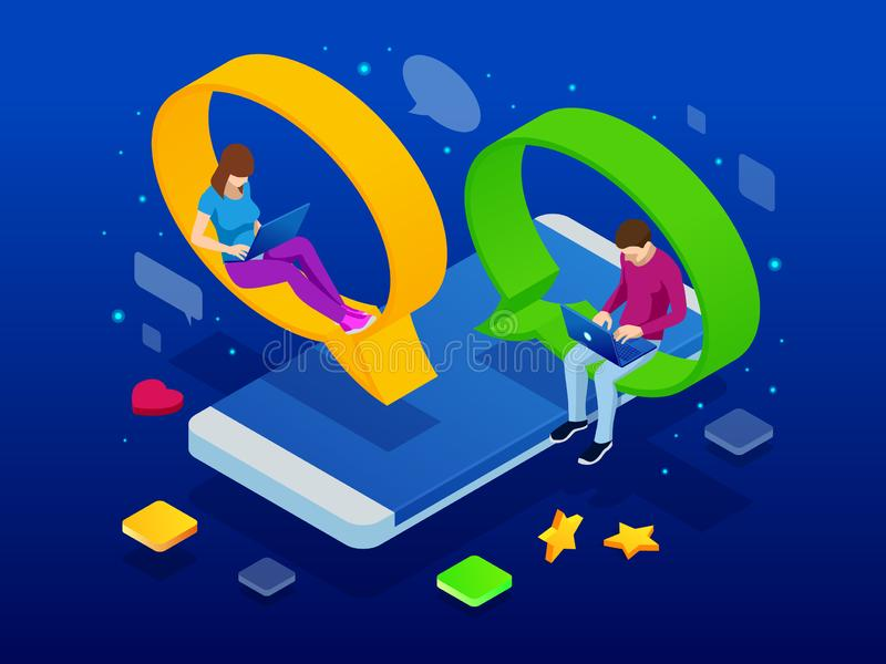 Isometric pojęcie ogólnospołeczna medialna sieć, cyfrowa komunikacja, gawędzi Online gadki kobiety i mężczyzny app ikony gadka ilustracji