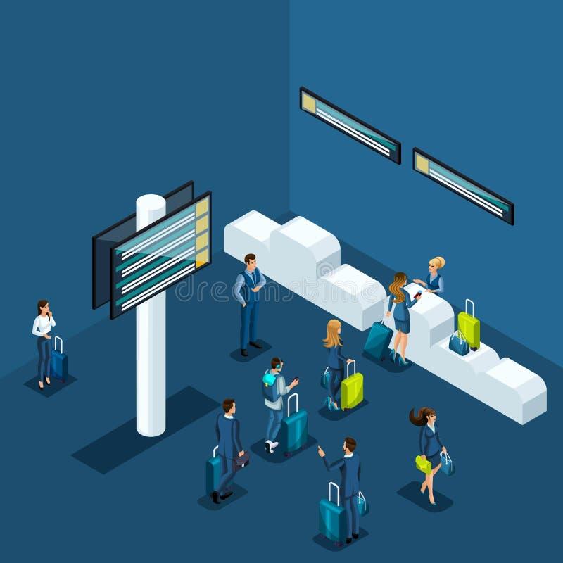 Isometric pojęcie paszportowa kontrola przy lotniskiem, dostawa rzeczy bagażu przedział, podróż służbowa royalty ilustracja
