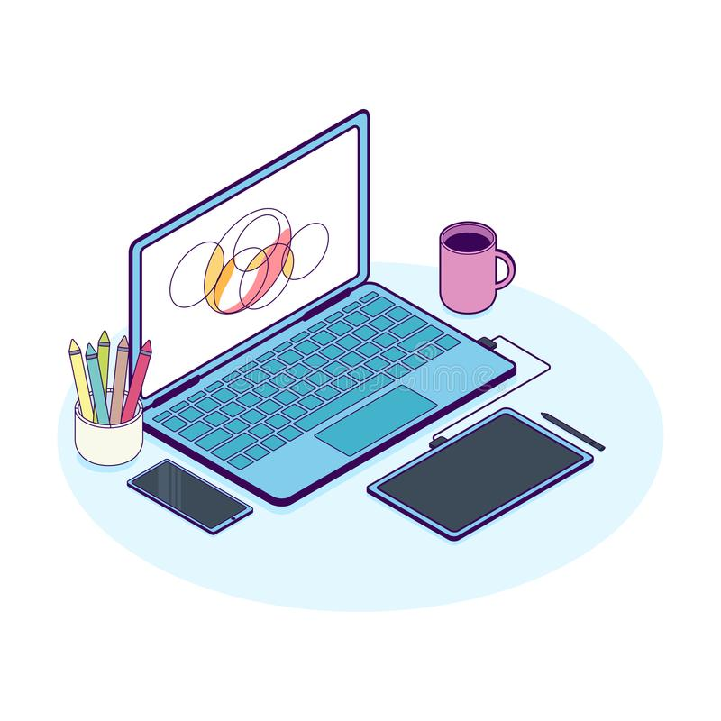 Isometric pojęcie projektanta miejsce pracy z komputerem i grafiki pastylką ilustracja wektor