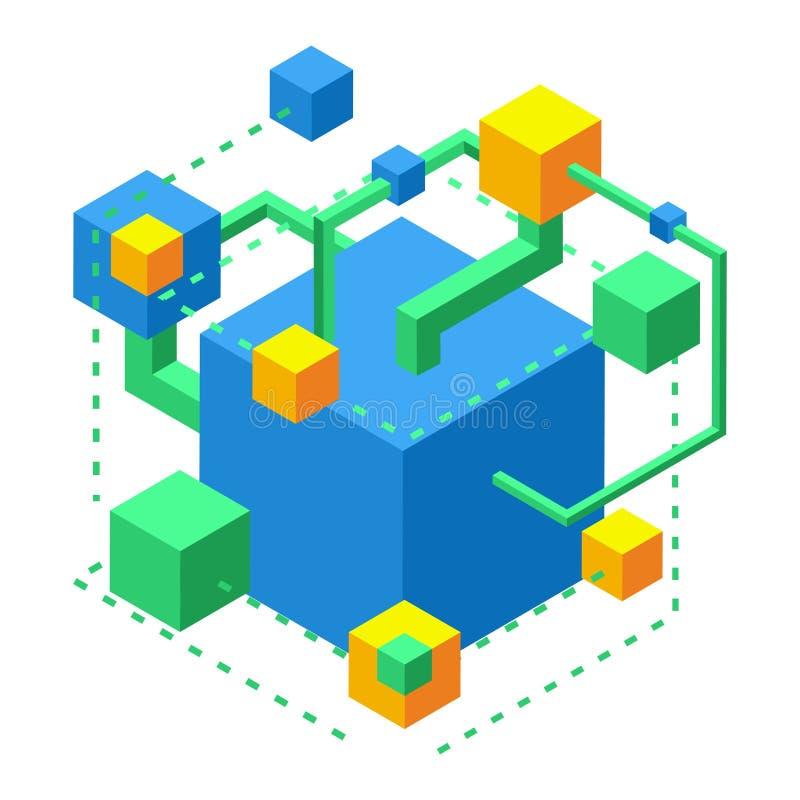 Isometric pojęcie rozwój neural związki, używać symulanta dla rozwoju pamięć ilustracji