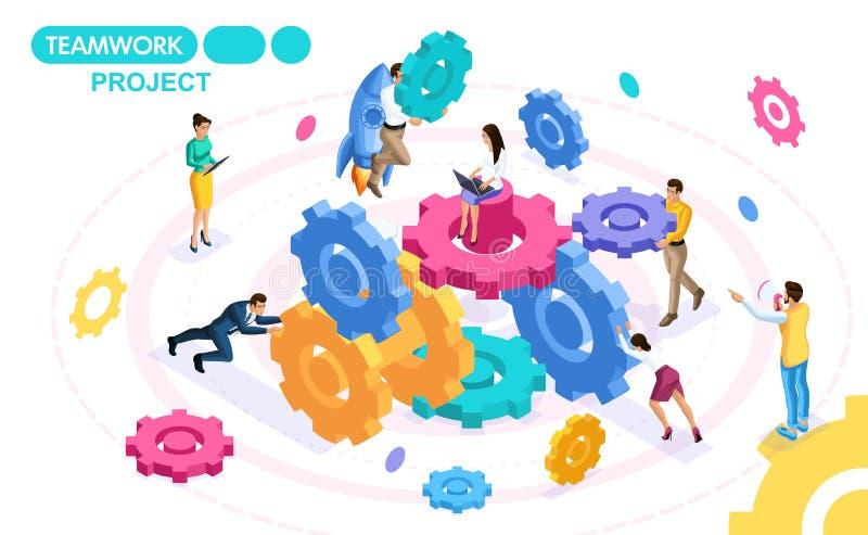 Isometric pojęcie rozwija projekt praca zespołowa i tworzy, biznesowi pomysły, brainstorming ludzie ruchu royalty ilustracja