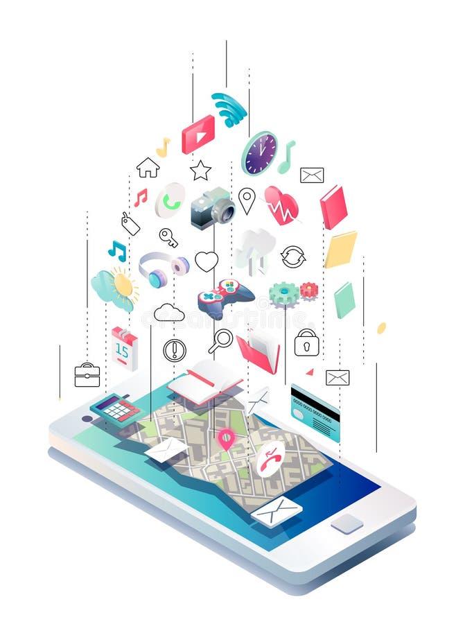 Isometric pojęcie smartphone z różnymi zastosowaniami, linii usługa i stacjonarnymi opcjami, ilustracja wektor