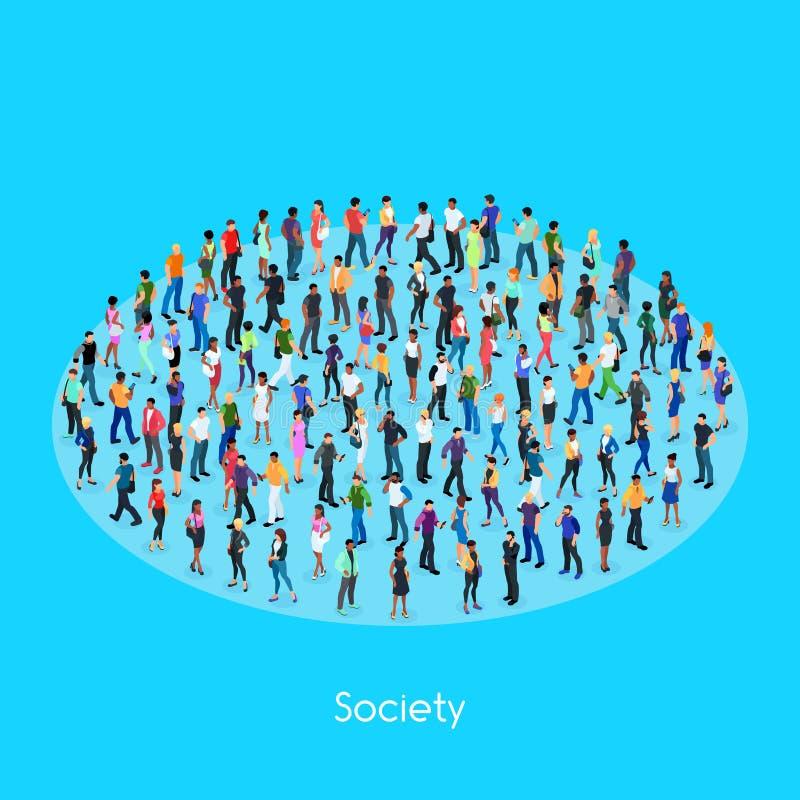 Isometric pojęcie społeczeństwo royalty ilustracja