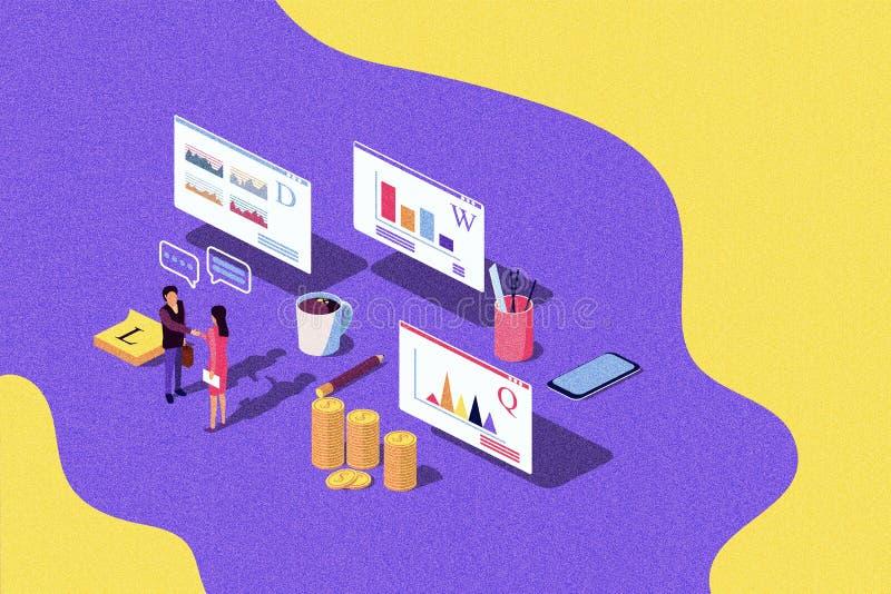 Isometric pojęcie występu cenienia sukcesu biznes, przyrost praca zespołowa, rozpoczęcie ilustracja wektor