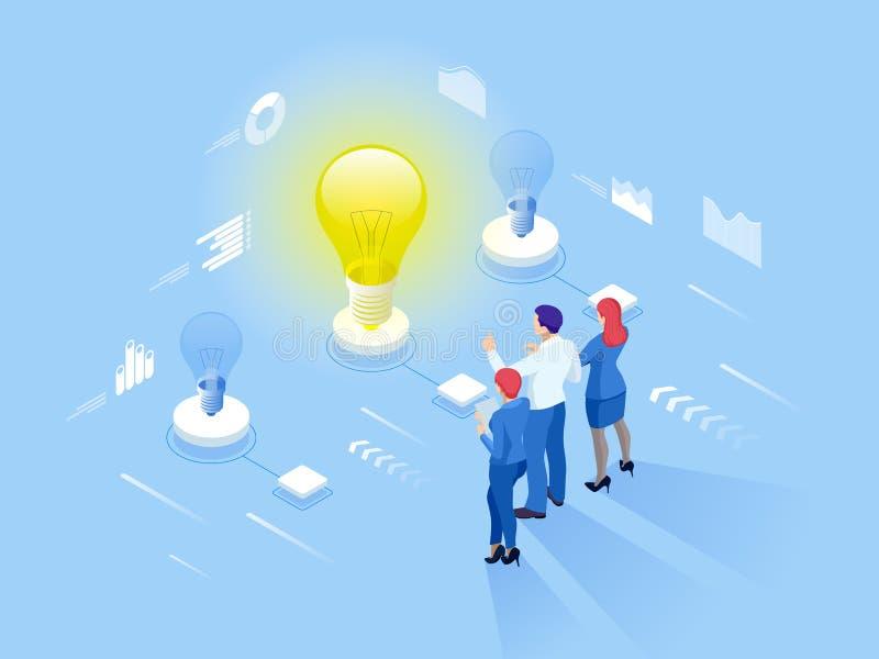Isometric poj?cie pomys?, biznesowy spotkanie i brainstorming, zaczyna w g?r? dru?yny w kreatywnie pracie zespo?owej i spotkaniu royalty ilustracja