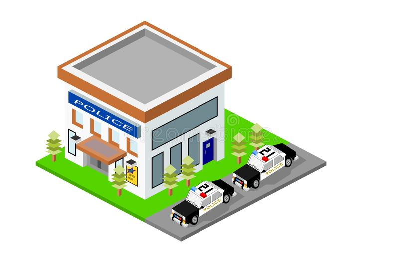 Isometric Police Station Building with Cars royalty free stock images