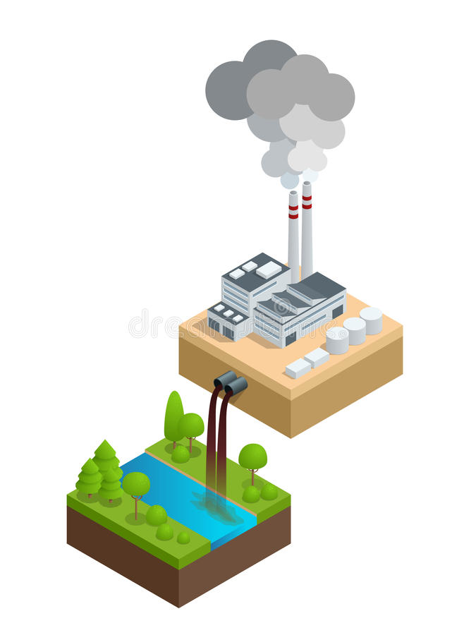Isometric Pollution of the environment concept. The plant pours dirty water into the river, the pipes smoke and pollute stock illustration