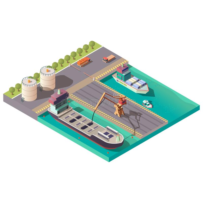 Isometric port, delivering petroleum or oil by sea vector illustration