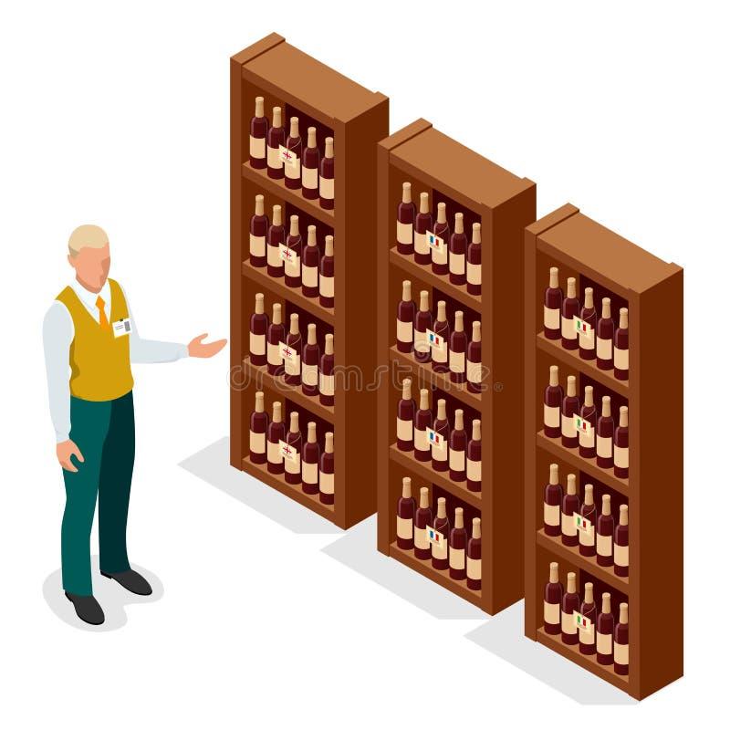 Isometric portret dorosłej samiec sprzedawca w jednolitej seans butelce wino klient w wino sklepie wektor royalty ilustracja