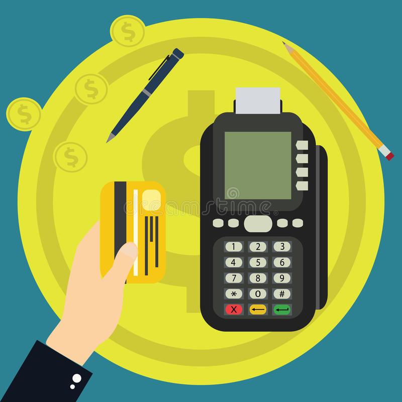 Isometric Pos terminal confirms the payment by debit credit card. Vector illustration in flat design. nfc payments concept royalty free illustration