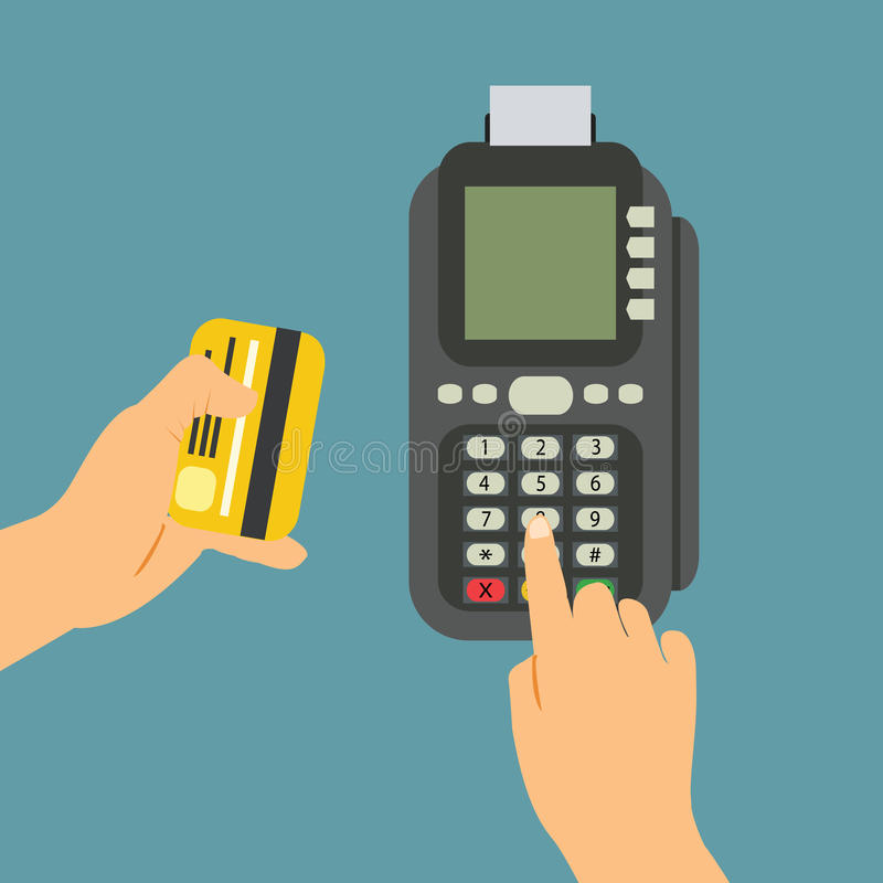 Isometric Pos terminal confirms the payment by debit credit card stock illustration