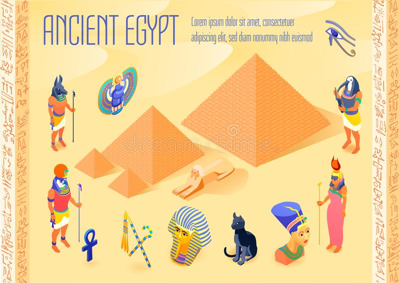 Egypt Isometric Poster stock illustration