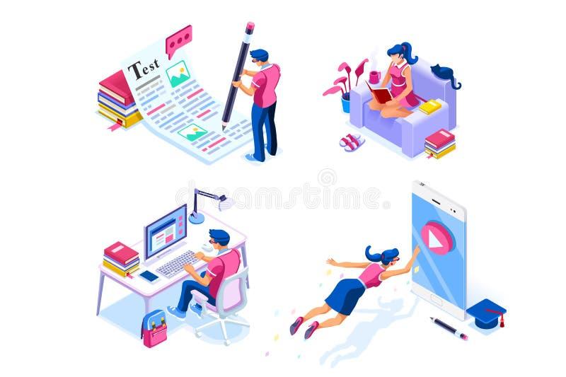 Isometric pracy domowej wiedzy ikony dla strony internetowej royalty ilustracja