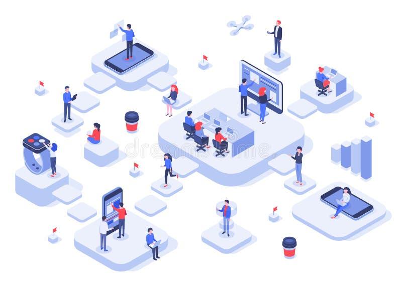 Isometric pracy drużyna Obłoczne miejscych prac platformy, nowożytny drużyna obieg proces i rozwój firmy początkowy 3d wektor, ilustracji