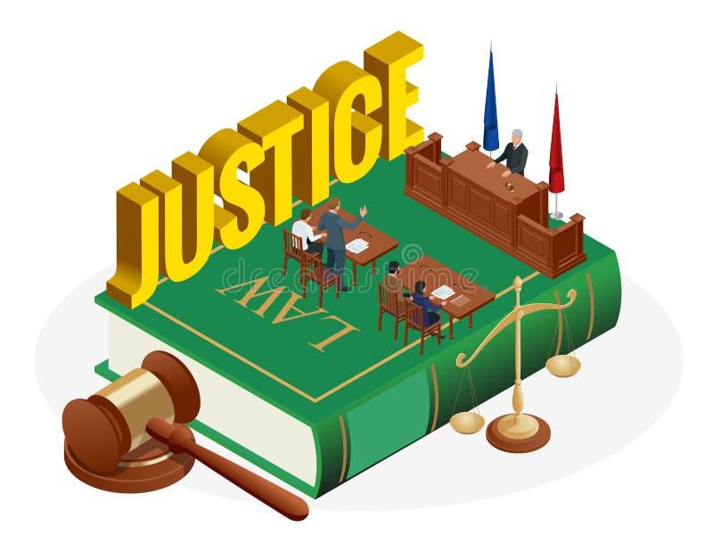 Isometric prawa i sprawiedliwości pojęcie Prawo temat, dobniak sędzia, waży sprawiedliwość, książki, statua sprawiedliwość wektor royalty ilustracja