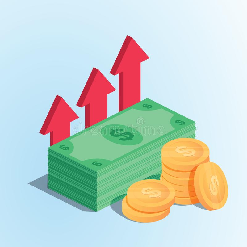 Profit money or budget vector illustration, flat cartoon pile of paper cash and rising graph arrow up stock illustration