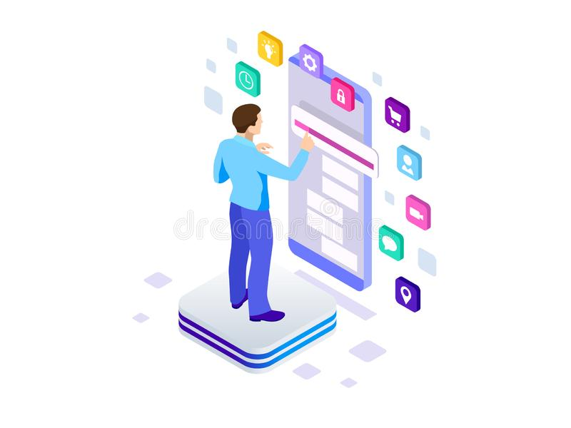 Isometric programista pracuje w oprogramowaniu rozwija firmy biuro Rozwija programowania i cyfrowania technologie royalty ilustracja
