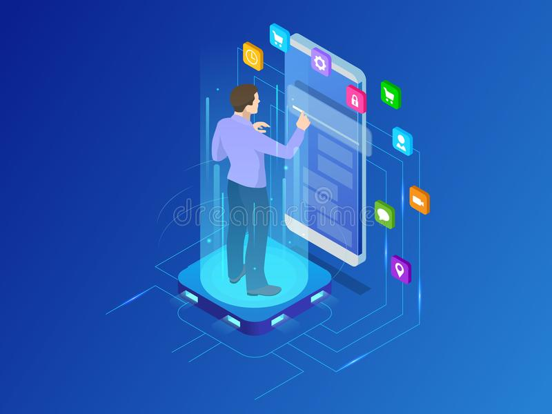 Isometric programmer working in a software develop company office. Developing programming and coding technologies. Concept. UX UI User Interface and User vector illustration