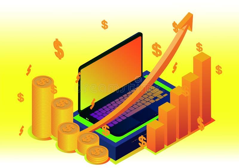 Isometric projekta pojęcia cyfrowy marketing cyfrowy pieniądze analizuje z wykresu komputerem i mapą ilustracji