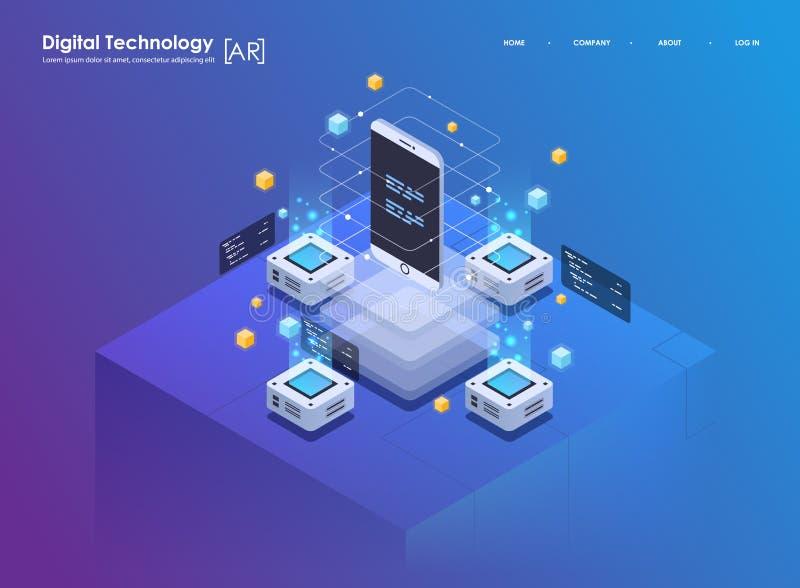 Isometric projekta pojęcia rzeczywistość wirtualna i zwiększająca rzeczywistość AR i VR rozwój Cyfrowej Medialna technologia dla royalty ilustracja