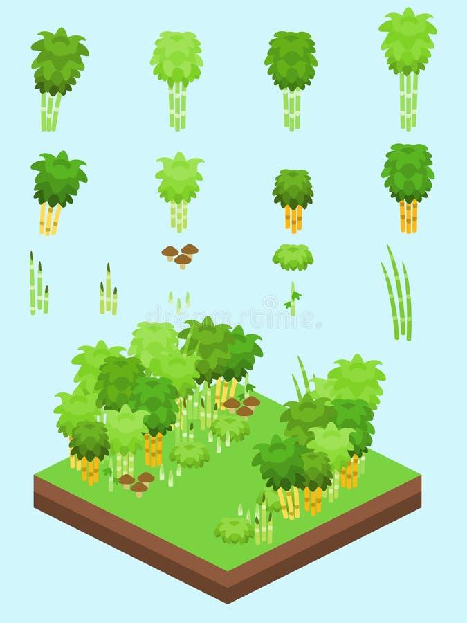 Isometric Proste rośliny Ustawiać - Bambusowy las royalty ilustracja