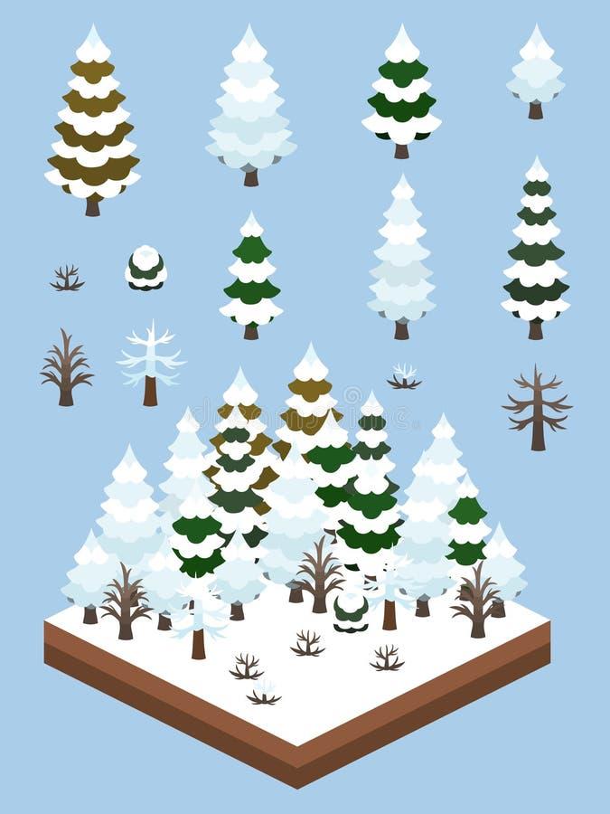 Isometric Proste rośliny Ustawiać - Borealna Lasowa zima ilustracji