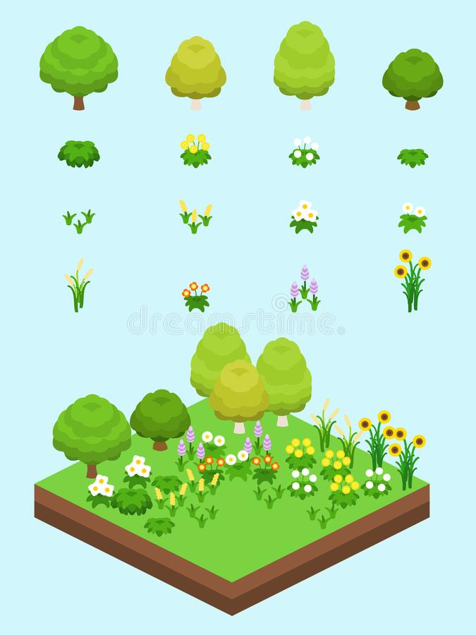 Isometric Proste rośliny Ustawiać - obszaru trawiastego Biome ilustracja wektor