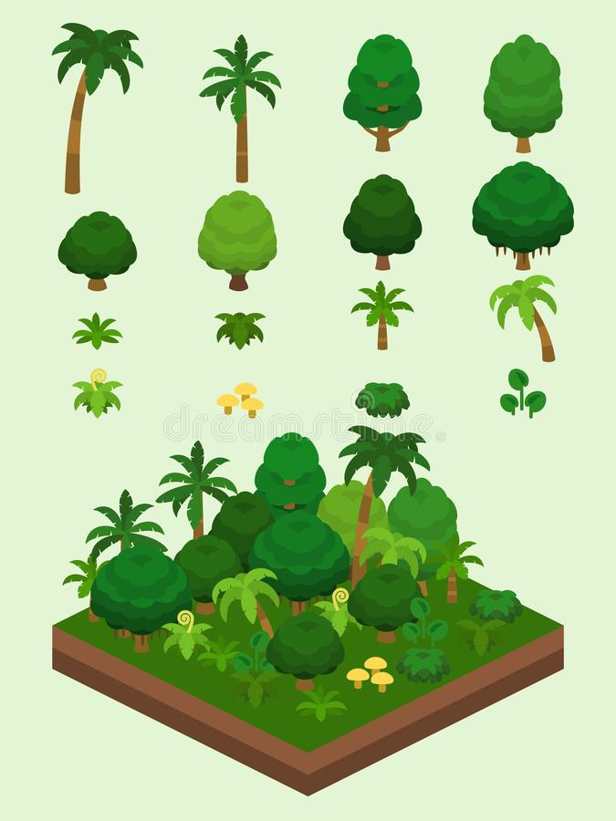 Isometric Proste rośliny Ustawiać - tropikalnego lasu deszczowego Biome ilustracja wektor