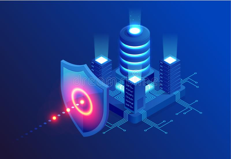 Isometric Protection network security and safe your data concept. Web page design templates Cybersecurity. Digital crime royalty free illustration
