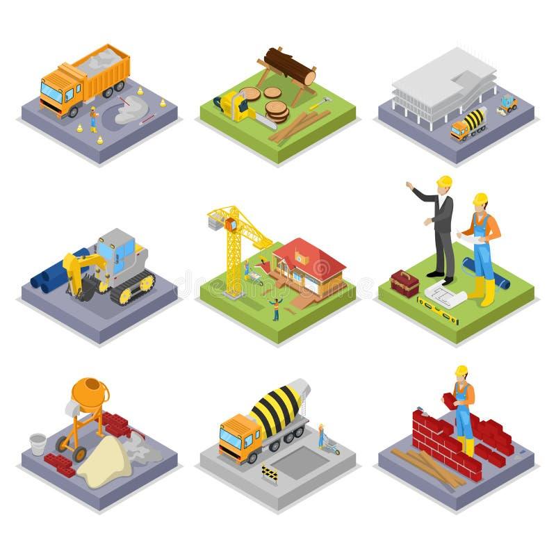 Isometric przemysł budowlany Przemysłowy żuraw, pracownicy, melanżer i budynki, royalty ilustracja