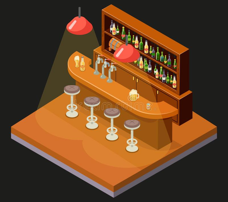 Isometric Pub Bar Restaurant Cafe Symbol Alcohol Beer House Interior 3d Icon Background Concept Flat Design Template stock illustration