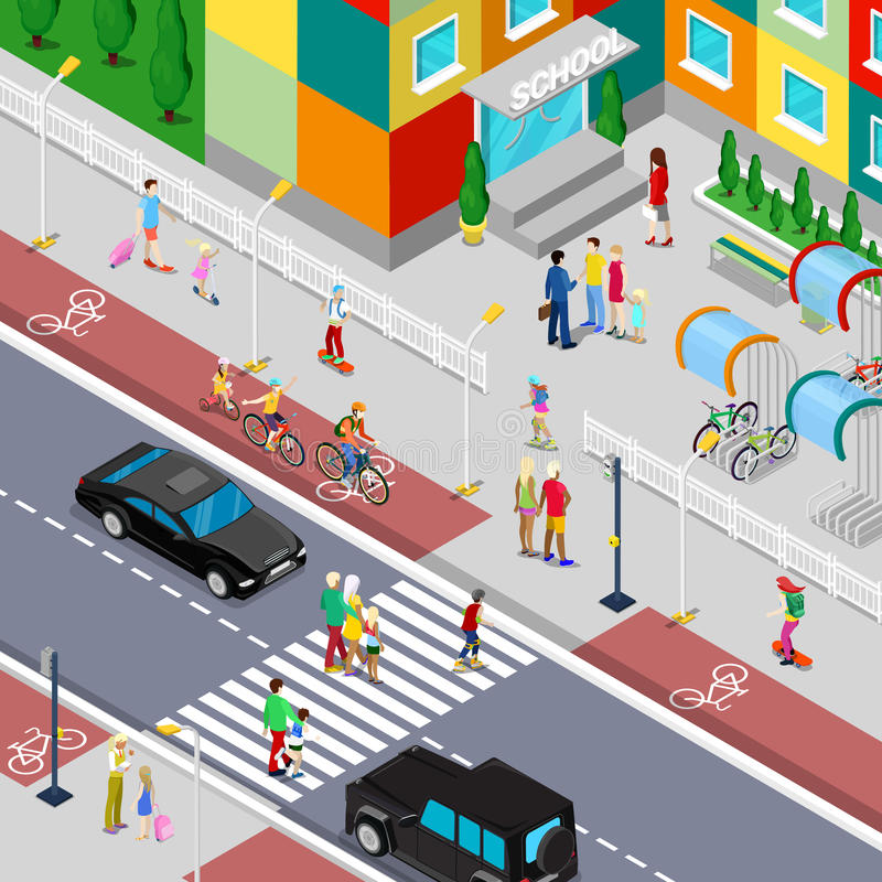 Isometric Pupils Going to School Building with Parents stock illustration