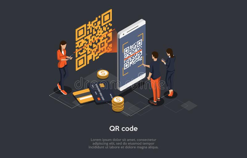 Isometric Qr Code Verification Concept. Man is Scanning the Qr Code By Mobile Phone. Hi Tech Technologies. Vector. Illustration vector illustration