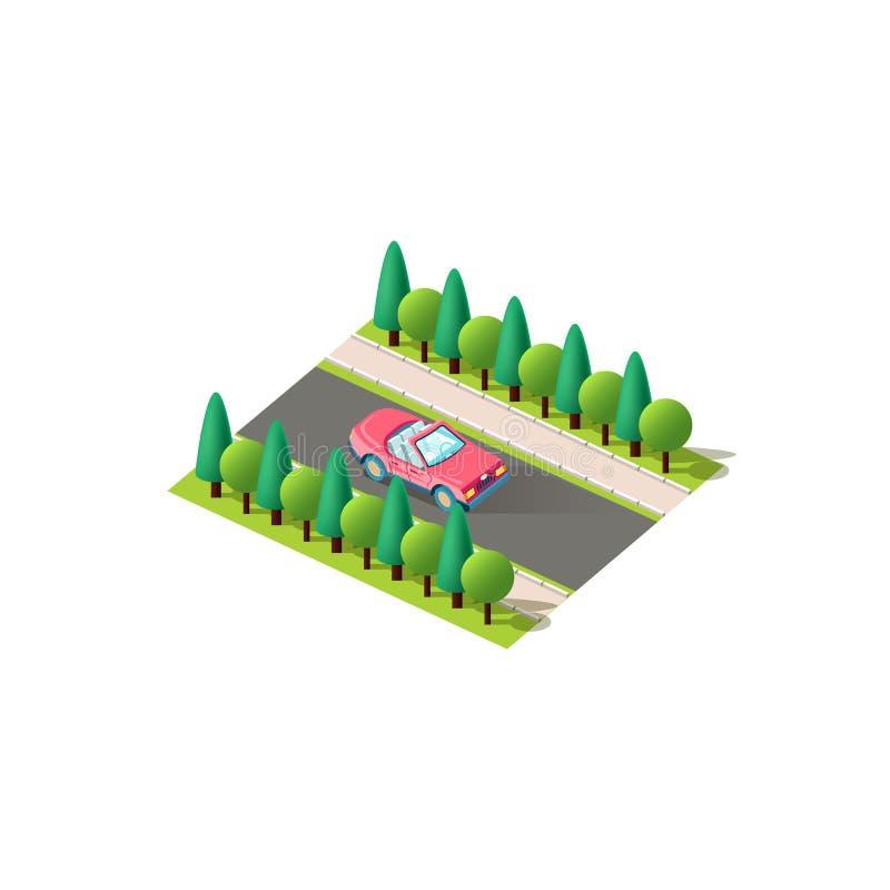 Isometric różowy kabriolet ilustracja wektor