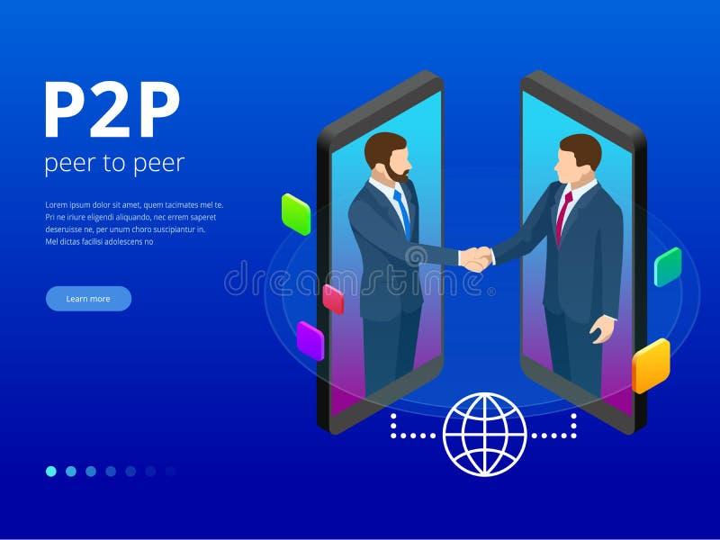 Isometric rówieśnik ono przyglądać się i Fintech pojęcie Dwa biznesmen oddziała wzajemnie z each inny przez urządzenie przenośne  ilustracji