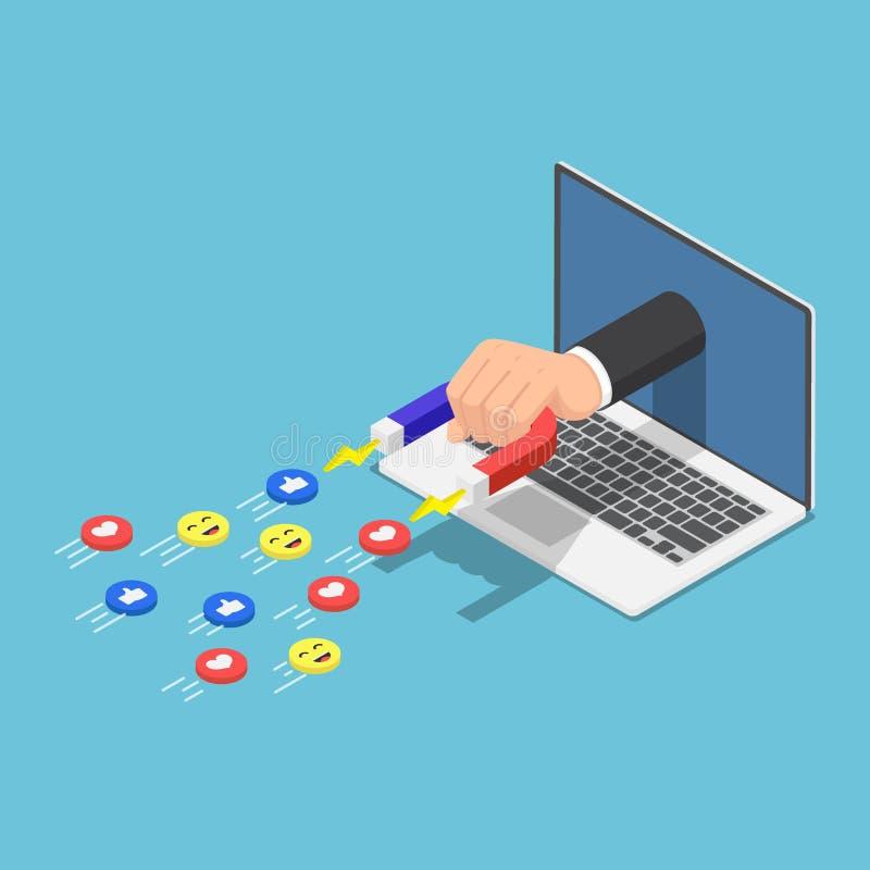 Isometric ręka trzyma magnes pojawiać się od laptopu monitoru i przyciągać ogólnospołeczne medialne ikony ilustracja wektor