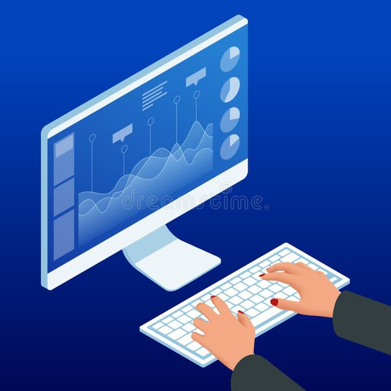 Isometric ręki na komputerowym monitorze i klawiaturze Bizneswoman pracy mapy rozkład, planuje pieniężnych raportowych dane ilustracja wektor