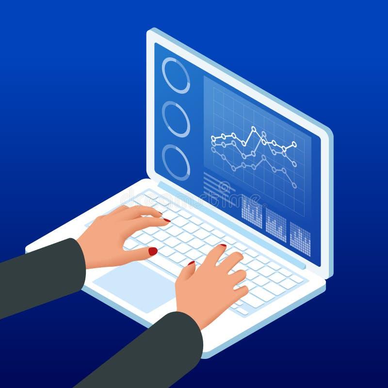 Isometric ręki na laptop klawiaturze Bizneswoman pracy mapy rozkład, planuje pieniężną raportową dane metodologię ilustracji