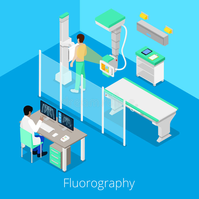 Isometric Radiology Fluorography Procedure with Medical Equipment and Patient vector illustration