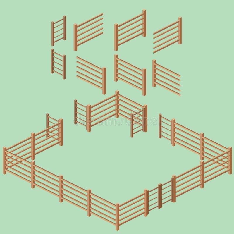 Isometric Rail Fence Building Kit stock photo