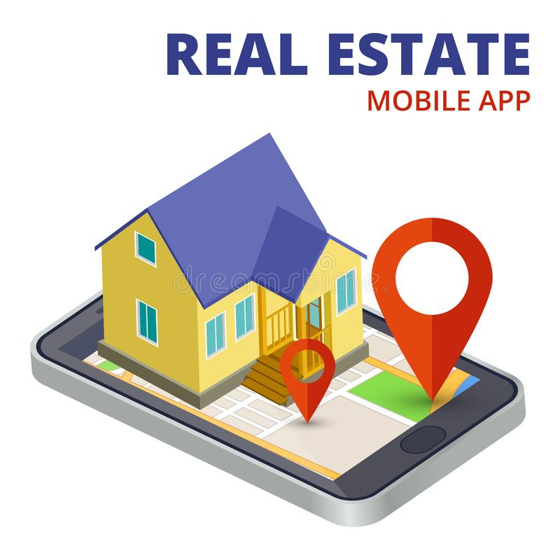 Isometric real estate mobile app with phone and 3d house vector vector illustration