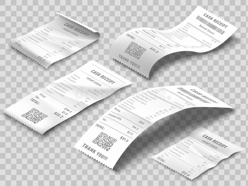 Isometric receipts bill. Printed billing receipt, payment bills and financial bank check print isolated realistic 3d stock illustration