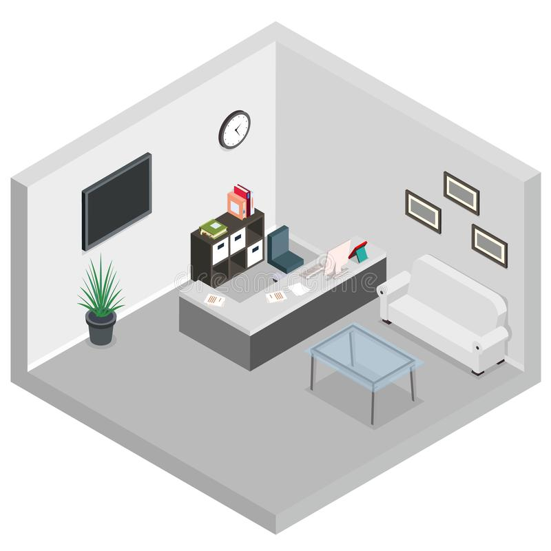 Isometric reception room interior sofa desk table monitor screen waiting area vector illustration vector illustration
