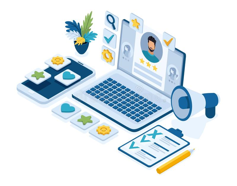 Isometric recruitment concept, HR managers, job seekers, resume, icons for work, laptop with resume.  stock illustration